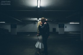 gritty parking garage engagement photos